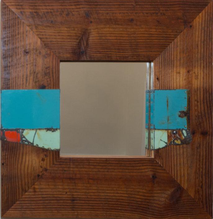 barnwood mirror with reclaimed tin