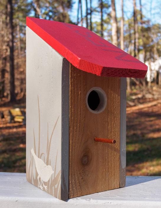 red NEST cedar birdhouse