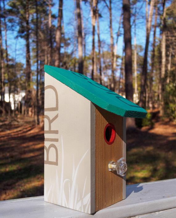 teal roof cedar birdhouse