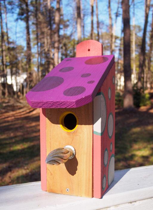 polka dot cedar birdhouse