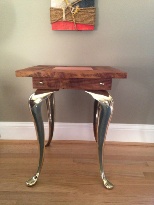 reclaimed wood and tin side table with brass queen anne legs