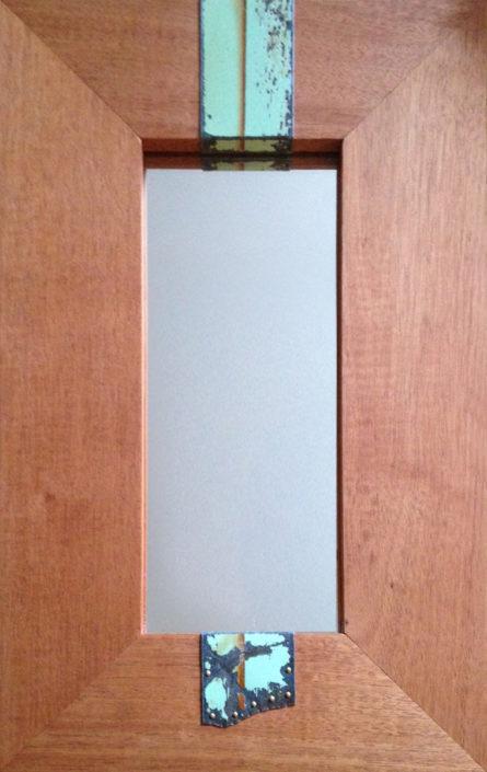 mahogany and reclaimed tin mirror