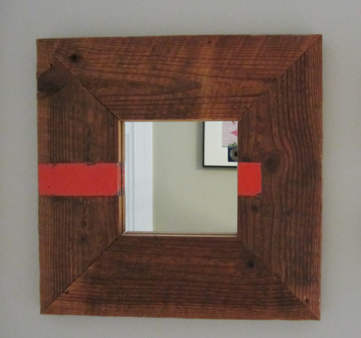 reclaimed wood and tin mirror
