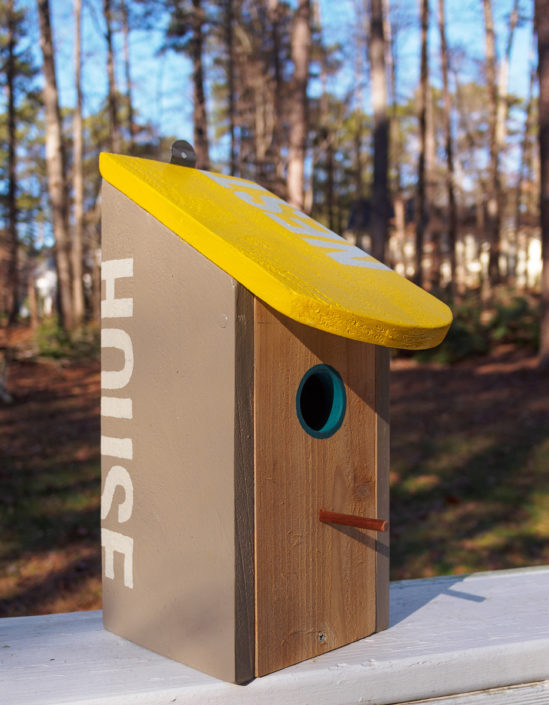 yellow-roof NEST cedar birdhouse