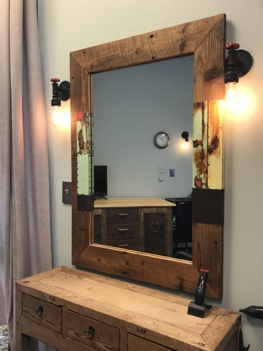 reclaimed wood and tin salon mirror