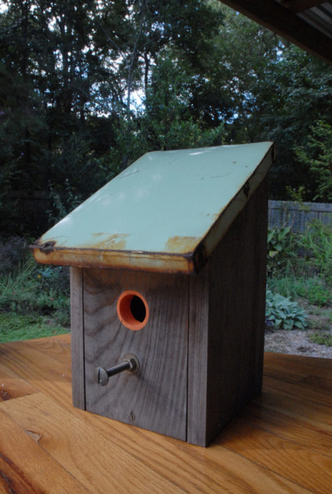 cypress birdhouse with reclaimed tin roof