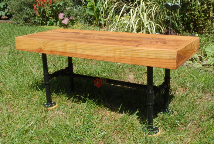 industrial style pipe-leg bench